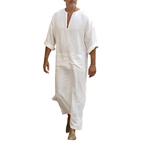 fanoud Mens Dress Kaftan Ethnic Robes Loose Solid Long Sleeve Loose Vintage Dress (Silk Kaftan With Tie)