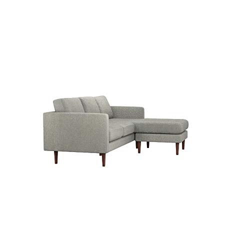 Rivet Revolve Modern Reversible Chaise Sectional, Grey Weave, 80 W