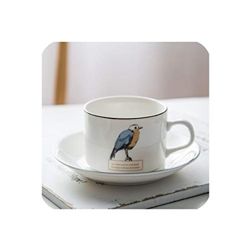 Nordic Style Brief Design New Tea Tumbler Cafe Coffee Cup With Saucer,200Ml,Bird