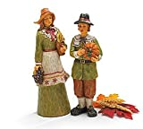 Set Of 2 Thanksgiving Man And Woman Pilgrim Figurines For Holiday Home Decor