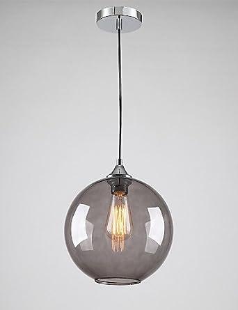 LINA Modern Glass Pendant Light In Round Smoke Grey