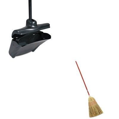 KITRCP253200BLARCP6381 - Value Kit - Rubbermaid Standard Corn-Fill Broom (RCP6381) and Rubbermaid-Black Lobby Pro Upright Dust Pan With Self Opening/Closing Cover (RCP253200BLA)
