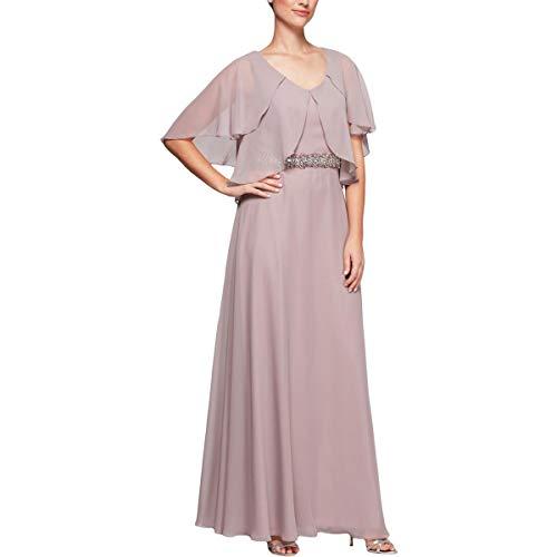 - Alex Evenings Women's Tiered Flutter Sleeve Dress with Beaded Waist, Pale Blush, 16