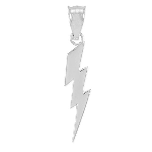 Sterling Silver Lighting Bolt - High Polish 925 Sterling Silver Lightning Bolt Charm Pendant