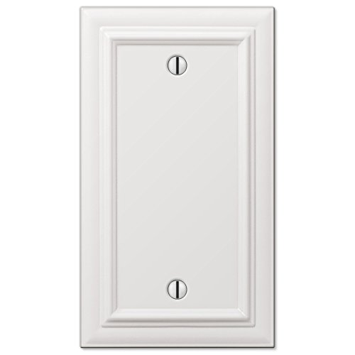 Amerelle Continental Single Blank Cast Metal Wallplate in White