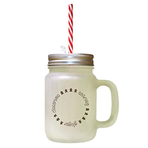 Brown Cinnamon, Nutmeg, Ginger Frosted Glass Mason Jar With Straw
