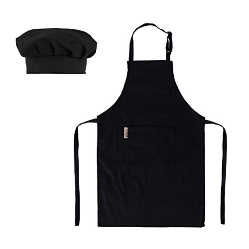Kids Apron and Chef Hat Set-Adjustable Child Apron for Boys and Girls Aged 6-14,Children's Kitchen Bib Aprons with Large Pocket for Cooking Baking Painting(Black) -