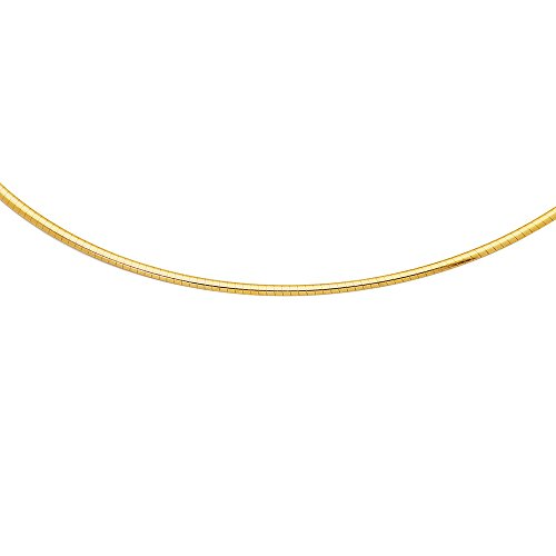 Jewelstop 14k Yellow Gold 2 mm Domed Omega Necklace, Lobster Claw Clasp – 16″