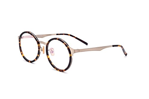 HEPIDEM Acetate Men Round Myopia Optical Glasses Frame Eyewear Eyeglasses 8007 (Leopard Gold)