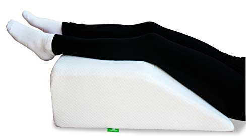 Post Surgery Elevating Leg Rest Pillow with Memory Foam Top - Best for Back, Hip and Knee Pain Relief, Foot and Ankle Injury and Recovery Wedge - Breathable and Washable Cover (8 Inch Elevator, White) (Best Sleeping Position For A Sore Back)