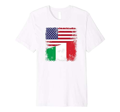 Half Italian Flag T-Shirt | Vintage Italy USA Gift (Shirt Flag Golf Italian)