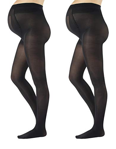 (2 PAIRS MATERNITY TIGHTS | PREGNANCY OPAQUE PANTYHOSE | 40 DEN | S M L XL | BLACK | MADE IN ITALY (S, Black))