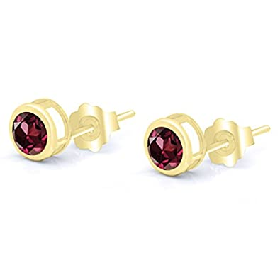 Gem Stone King 1.28 Ct Round 5mm Red Rhodolite Garnet 14K Yellow Gold Stud Earrings