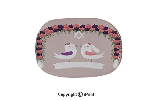 Jewish Wedding Invitations - Bath Mat Bathroom Rug,Soft Oval Bathroom Mat, Colorful Rug for Bathroom,Chuppah Halacha with Birds Jewish Wedding Invitation,19.7