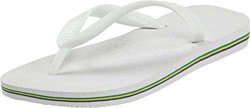 (Havaianas Men's Brazil Flip Flop Sandal,White, 41/42 BR(11-12 M US Women's / 9 M US)
