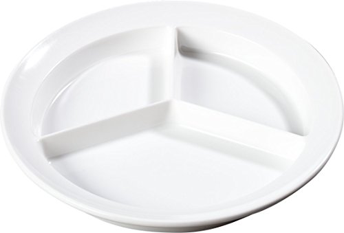 "Carlisle KL20302 Kingline Melamine 3-Compartment Plate, 8-23/32"" Diameter x 1-1/4"" Height, White (Case of 12)"