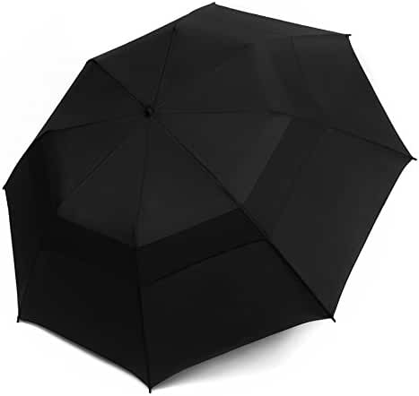 EEZ-Y Folding Golf Umbrella 58-inch Large Windproof Double Canopy - Auto Open, Sturdy and Portable