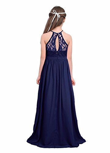 70462a24ad2 ... Dresses iEFiEL Girls Halter Lace Chiffon Flower Wedding Bridesmaid Dress  Junior Ball Gown Formal Party Pageant Maxi Dress Navy Blue 12.   