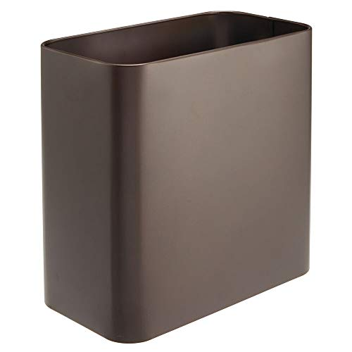 - mDesign Rectangular Metal Small Trash Can Wastebasket, Garbage Container Bin - for Bathrooms, Powder Rooms, Kitchens, Home Offices - Bronze