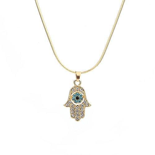 Meiligo Fashion Womens Hip-hop Blue Evil Eye Necklace Jewelry Rhinestone Protective Hand of Fatima Palm Pendant Necklace