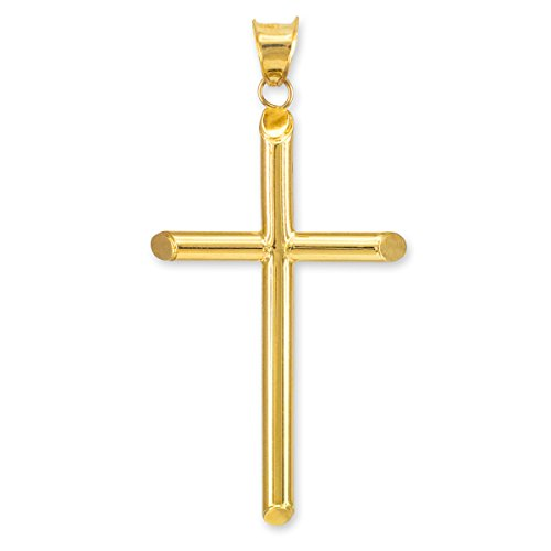 Polished 10k Yellow Gold Plain Crucifix Tube Cross Charm Pendant - 10k Crucifix