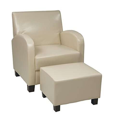 - Office Star Metro Club Chair with Ottoman in Eco Leather, Cream