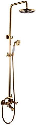 ヨーロッパスタイルアンティーク浴室金メッキセラミックすべて銅レインシャワーセット風呂蛇口真鍮シャワーヘッドハンドシャワーホース