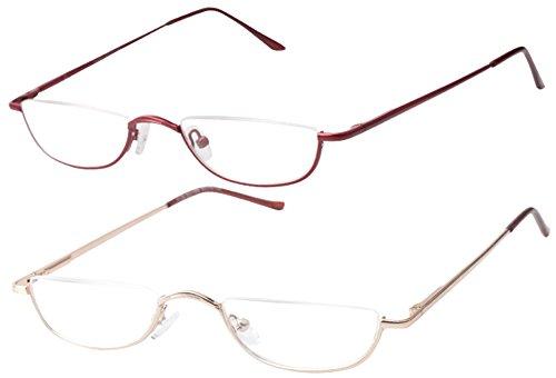 SOOLALA Vintage Designer Alloy Flat Top Half Frame Stylish Slim Reading Glasses, GoldRed, 1.25