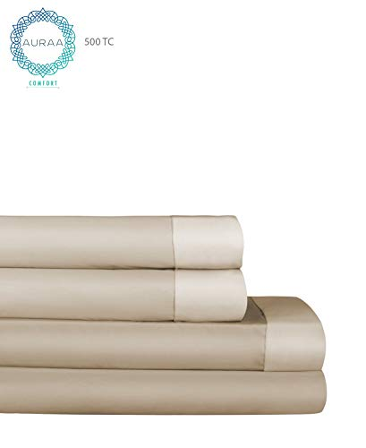 Price comparison product image AURAA Comfort 500 Thread Count 100% Long Staple Cotton Sheet Set - Reversible California King Sheets -4 Piece Set,Soft & Smooth Sateen Weave, Luxury Hotel Bedding, Taupe