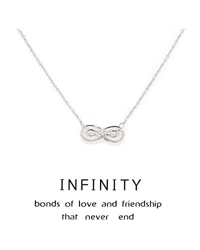 Zealmer Silver Infinity Necklace Best Friends Eternal Love Friendship Necklace with Message Card