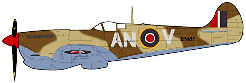 Spitfire Vb Trop No.417 Sqn, BR487/AN-V, Tunisia 1943, 1/48 Scale Die Cast Model HA7851 Hobby Master