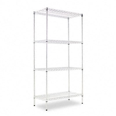 - Alera : Industrial Wire Shelving Starter Kit, 4 Shelves, 36w x 18d x 72h, Silver -:- Sold as 2 Packs of - 1 - / - Total of 2 Each