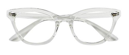 Basik Eyewear - Super Trendy Squared Off Sleek Clear Lens Cat Eye Fashion Glasses (Clear Frame, Clear - Glasses Trending Frames
