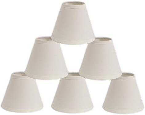 Urbanest Mini Chandelier Lamp Shades 6-inch, Cotton, Hardback, Clip On, Eggshell Set of 6