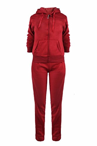 Women's Athletic Fleece 2 Pcs Zip UP Hoodie & Sweatpants Tracksuit Set Burgandy M