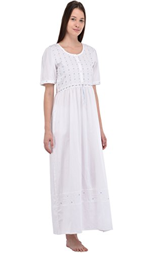 Camicia da notte in cotone bianco Vintage Cotton Lane Reproduction Plus Size A72-WT. Taglie italiane dalla 40 alla 70