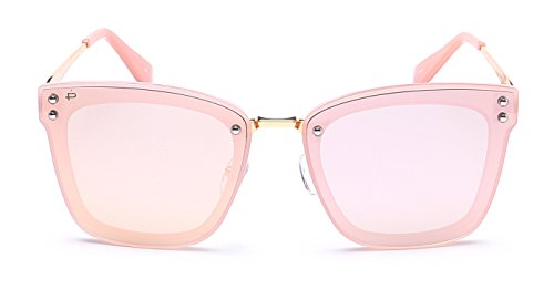 "PRIVE REVAUX ""The Nasty Woman"" Handcrafted Designer Polarized Futuristic Sunglasses (Pink)"