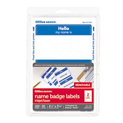 Office Depot Hello Name Badge Labels 2 11