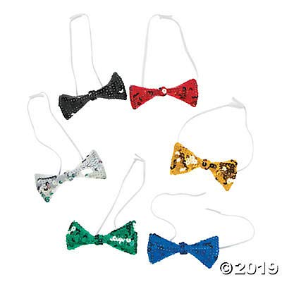Sparkling Sequin Bow Ties (set of 12) Bright assorted colors