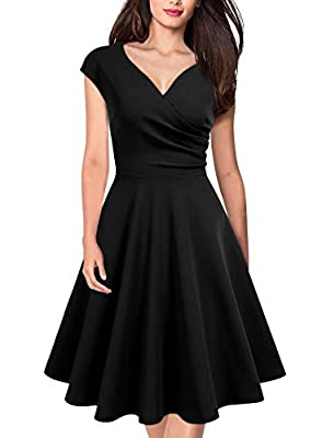 MISSMAY Women's Retro 1950s Cap Sleeve A-Line Cocktail Party Swing Dress