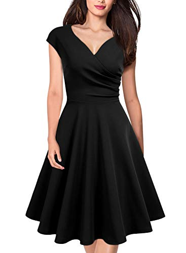MISSMAY Women's Retro Deep V Neck Cap Sleeve Cocktail Party Fit and Flare Dress, XX-Large, Black
