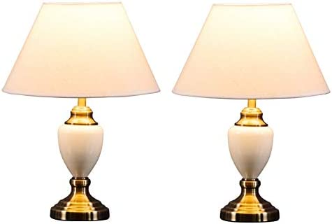 Pair of Malham Cream Ceramic Traditional Bedside Table Lamps & Shades 2 Pack
