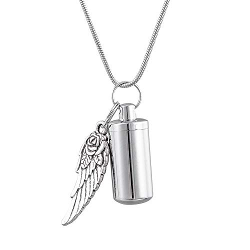 HooAMI Flower Angel Wing Charm Bottle Necklace Cremation Urn Jewelry Ashes Keychain Memorial Gifts ()