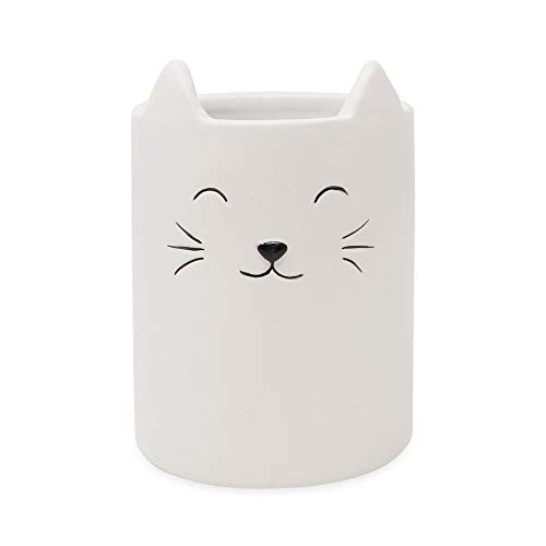 Isaac Jacobs White Ceramic Cat Makeup Brush Holder, Multi-Purpose Cup Organizer. Bathroom, Kitchen, Bedroom, Office Décor (Single Cup, Pastel White) -