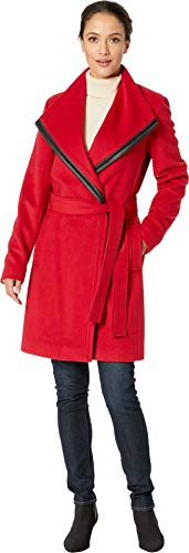 Calvin Klein Wool Wrap with PU Trim Detail Crimson 10