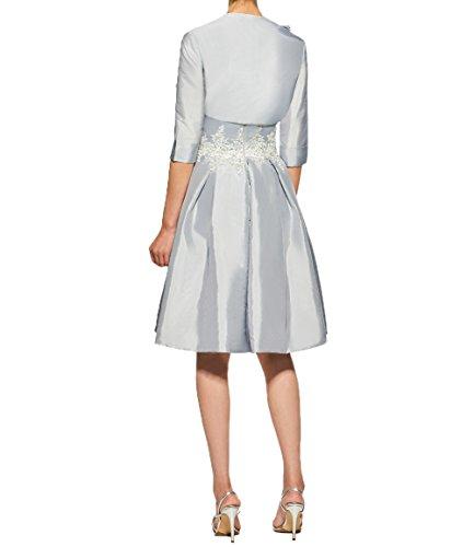 Brautmutterkleider Applikation Damen Partykleider Charmant Spitze mit Satin Flieder Abendkleider Promkleider Knielang Kurz StvnRa