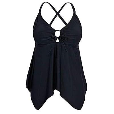 Pongfunsy Women Loose Swimsuit Summer Fashion Flowy Swimwear Solid Color Bikini Crossback Plus Size Tankini Top