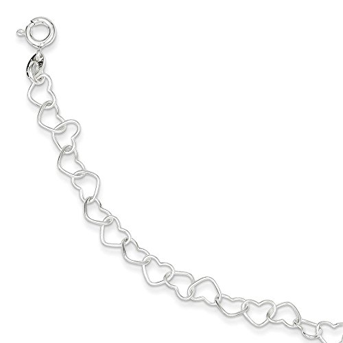 Sterling Silver 8inch Polished Fancy Heart Link Bracelet 8 Inches ()