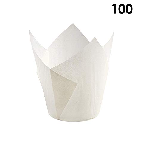 Bakuwe Standard Tulip Muffin Cupcake Liners Paper Baking Cups,100-Count (White)