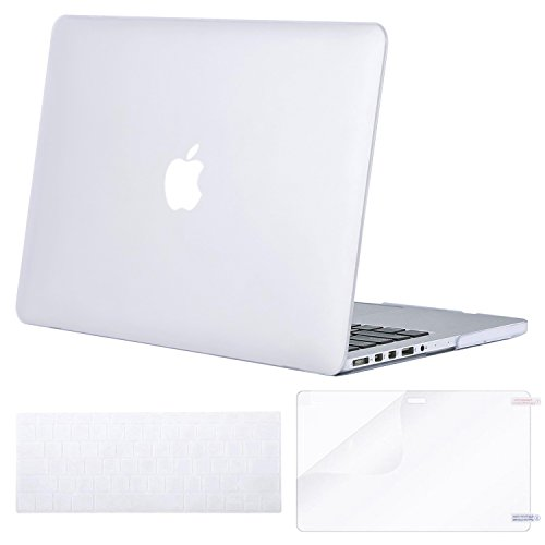MOSISO Case Only Compatible MacBook Pro (W/O USB-C) Retina 13 Inch (A1502/A1425)(W/O CD-ROM) Release 2015/2014/2013/end 2012 Plastic Hard Shell & Keyboard Cover & Screen Protector, Frost
